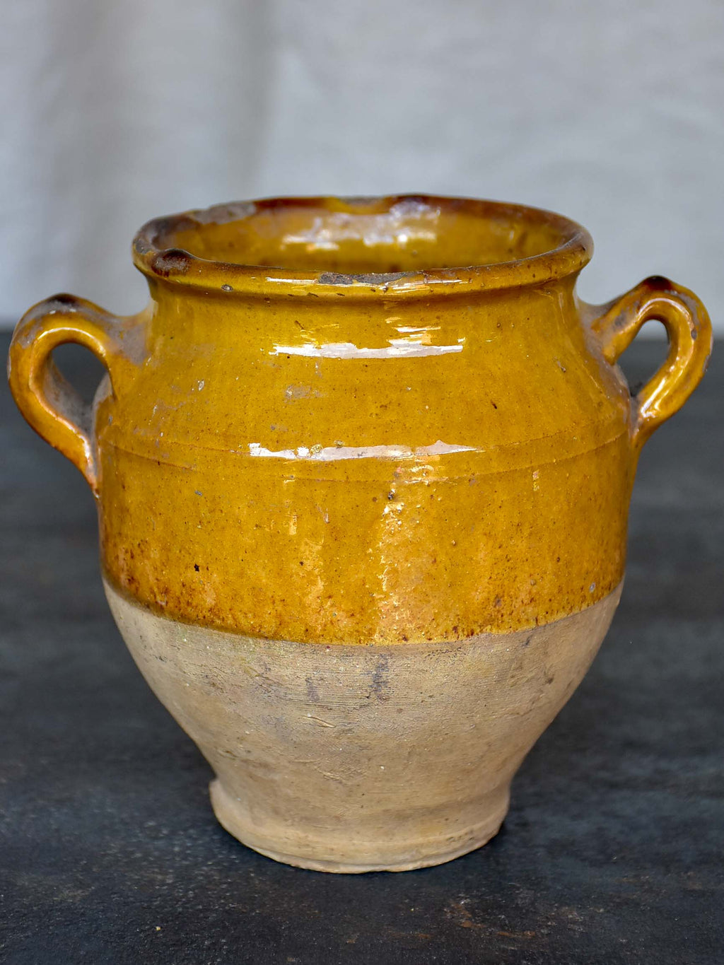 Very small antique French confit pot with yellow glaze 5 ¾''