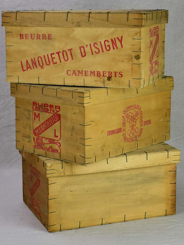 Collection of four butter and Camembert cheese packaging boxes