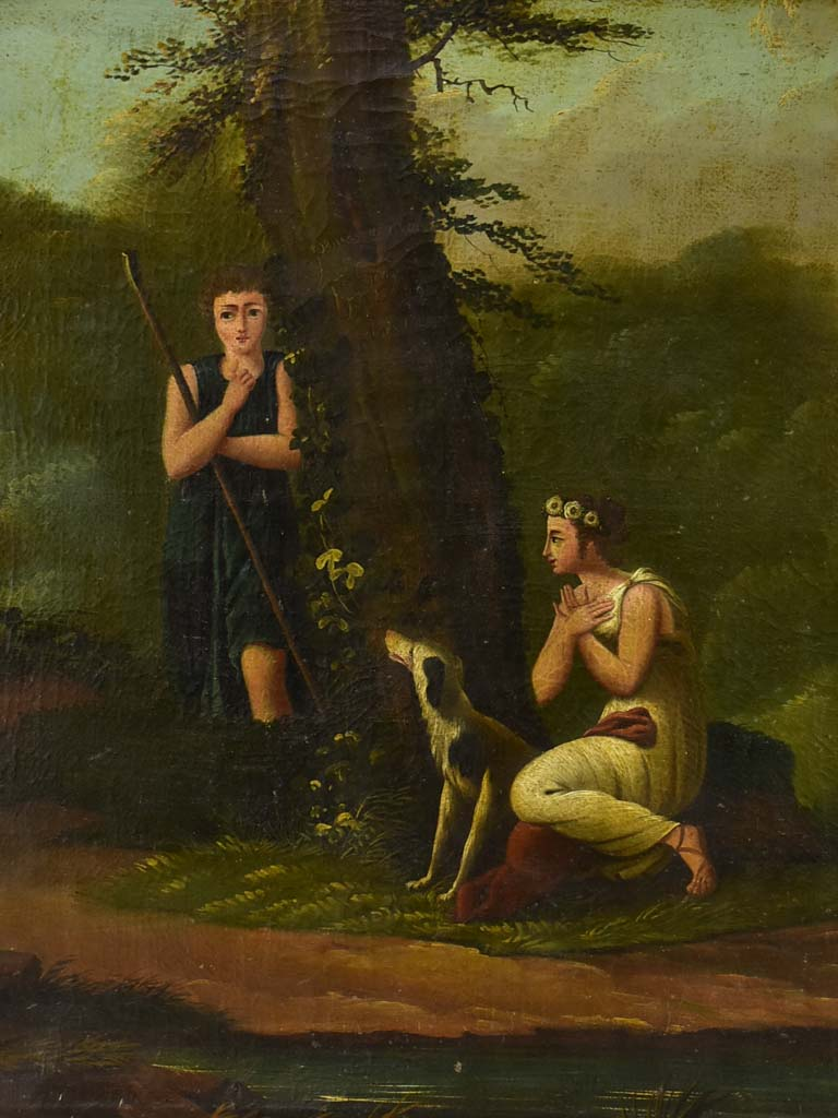 "Early 19th Century Romantic oil on canvas with hidden declaration of love - anonymous  37"" x 37½"""