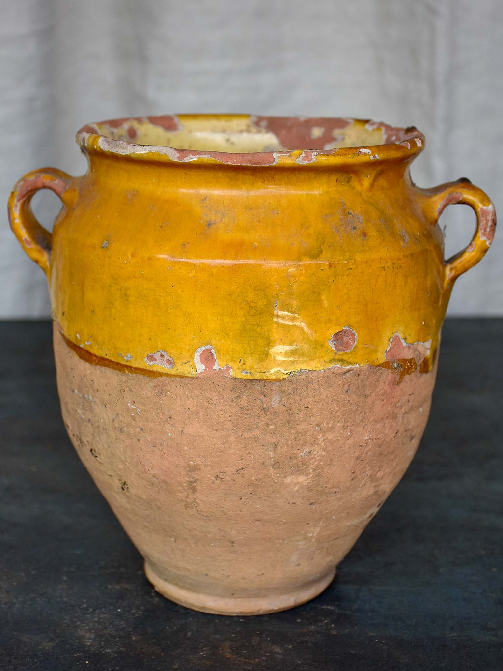 19th Century French confit pot with half yellow glaze 9 ¼''