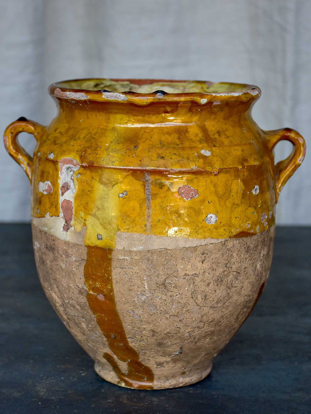 Antique French preserving pot with yellow glaze and handles 9 ½''