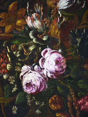 "19th century floral still life beetle, fly, luminous peonies & tulips. Oil on canvas 20½ x ""25½"""