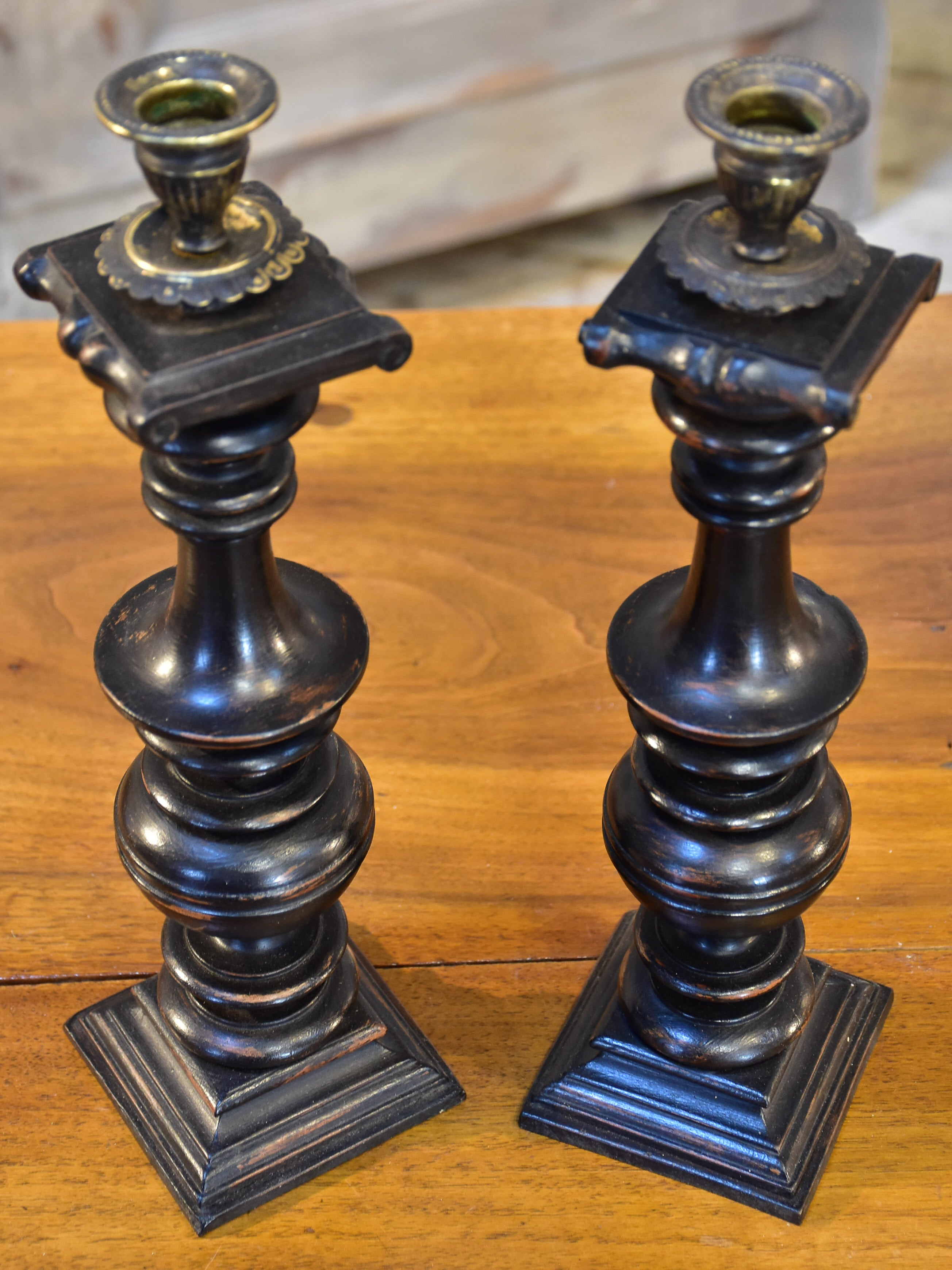 Pair of French candlesticks with black finish
