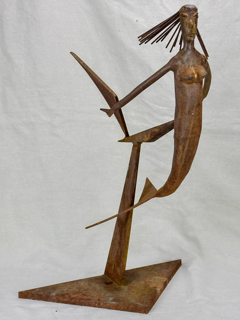 Mid century iron sculpture of a mermaid 25½""