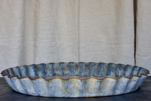 Large antique French zinc dish with rippled edge for harvesting resin