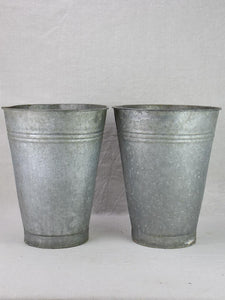 Two vintage zinc florist vases - large & watertight 14¼""