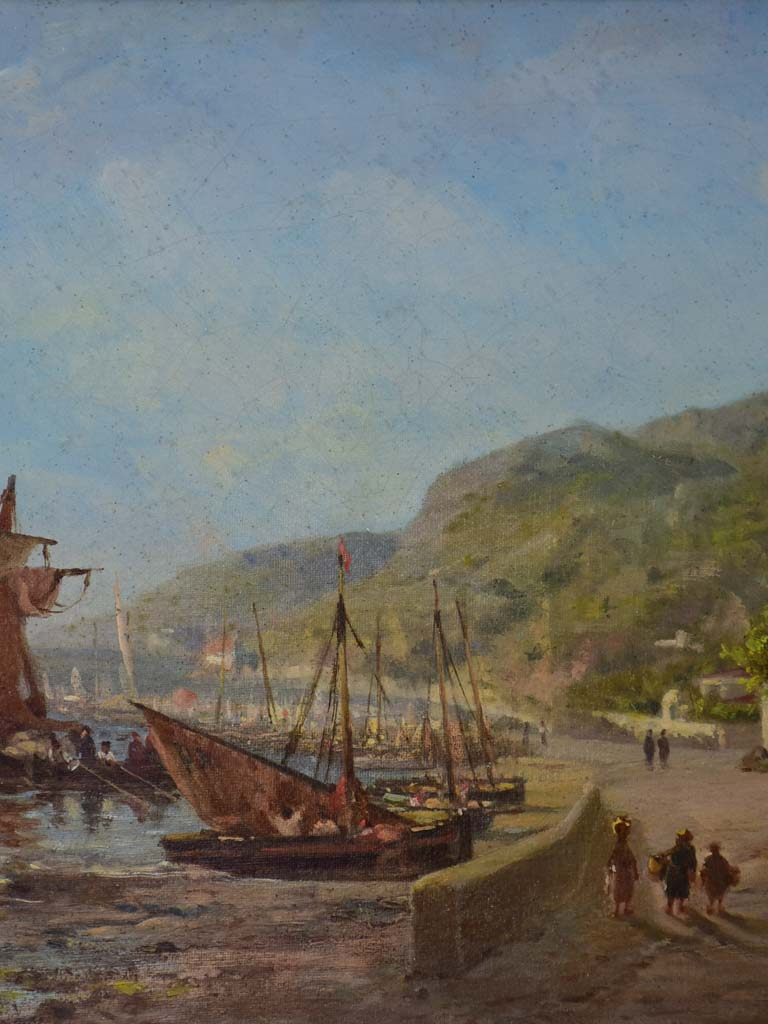 19th Century oil on canvas - coastal scene with sailing boats