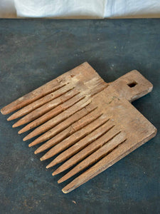 Antique French wooden wool comb