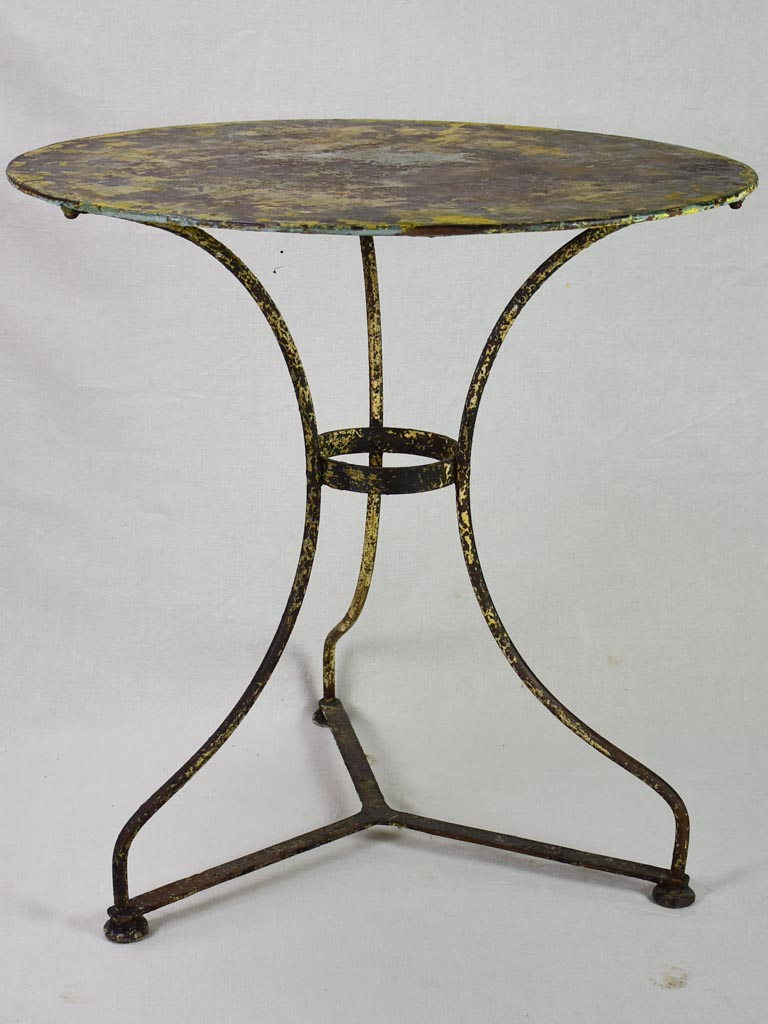 "Late 19th century French garden table with original patina 28"" diameter"
