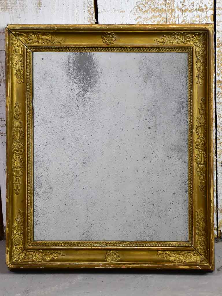 "Small Restoration mirror with original mercury glass and gold frame 13¾"" x 16¼"""