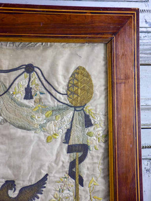 "Framed monogrammed wedding tapestry - 18th or 19th Century 30¾"" x  39¾"""