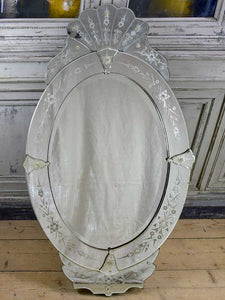 "Antique Venetian mirror - oval with crest 27½"" x 48"""