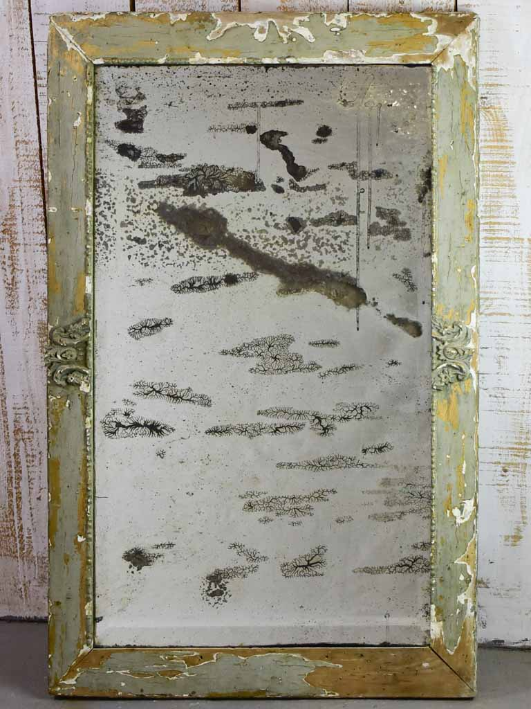 "Rare 19th century French mirror with aged mercury glass and pretty patinated frame 28¾"" x 46½"""
