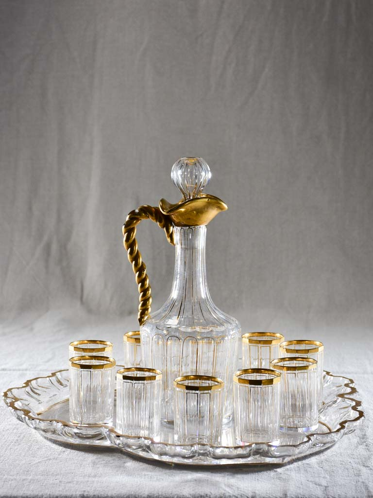 Napoleon III crystal digestif service with ten glasses, carafe and tray