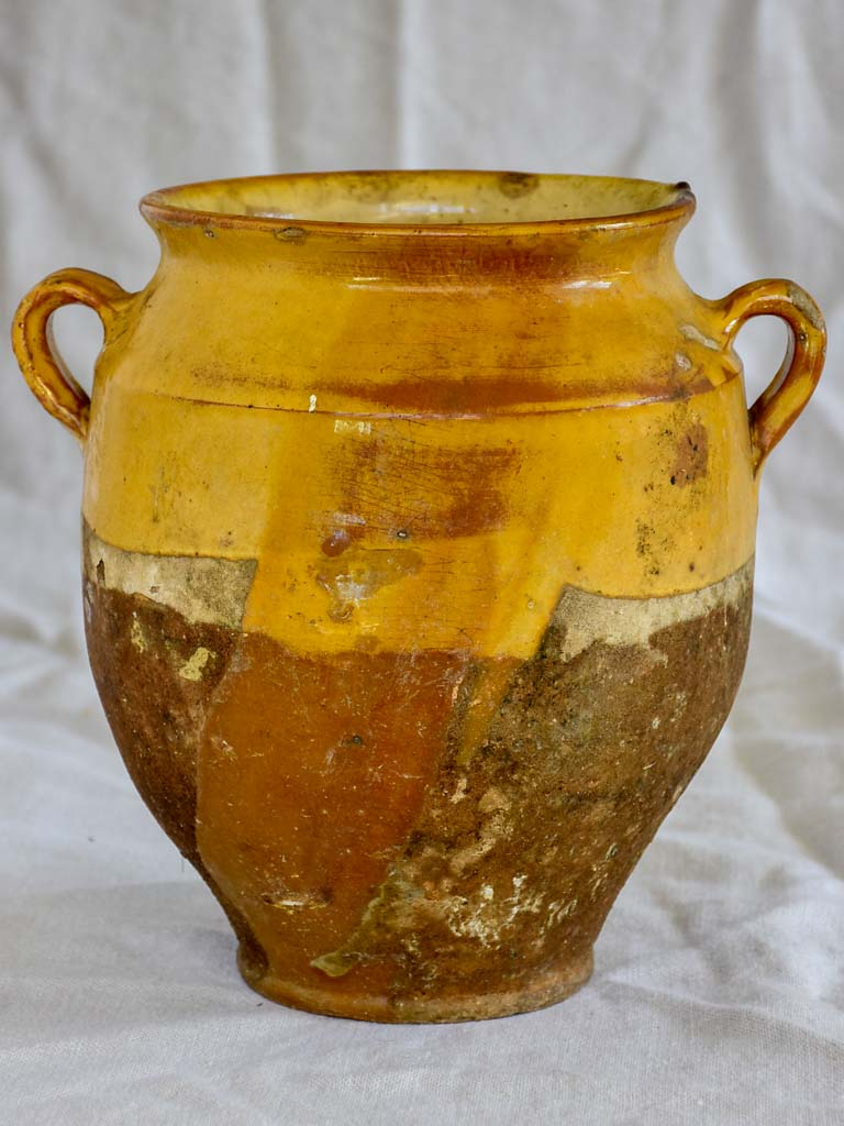 Rustic 19th Century French confit pot with yellow / orange glaze