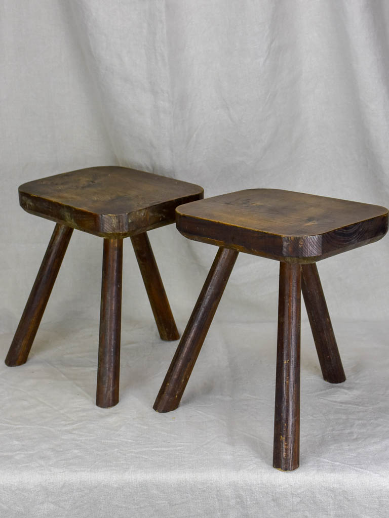 Pair of small beech wood 3 legged milking stools
