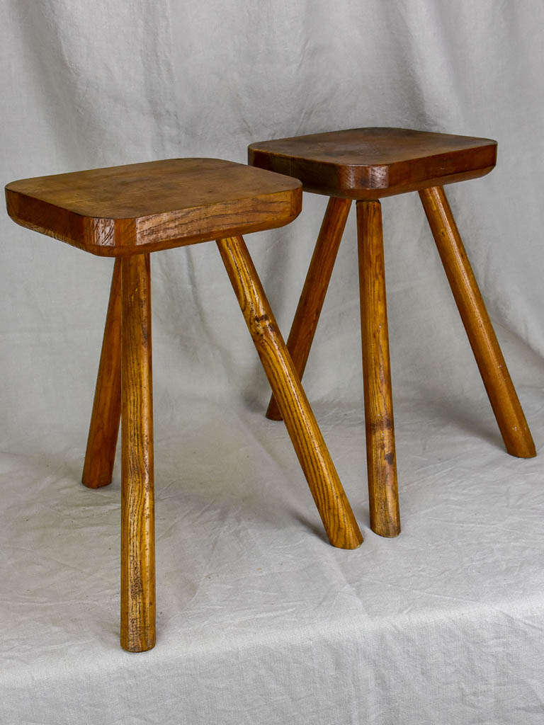 Pair of beech wood 3 legged milking stools