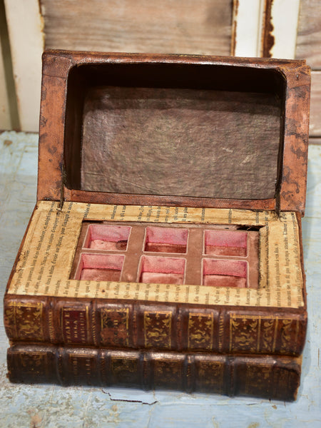 Antique French secret storage box with six perfume flasks