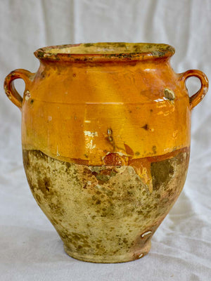 Rustic 19th Century French confit pot with orange glaze 10¾""