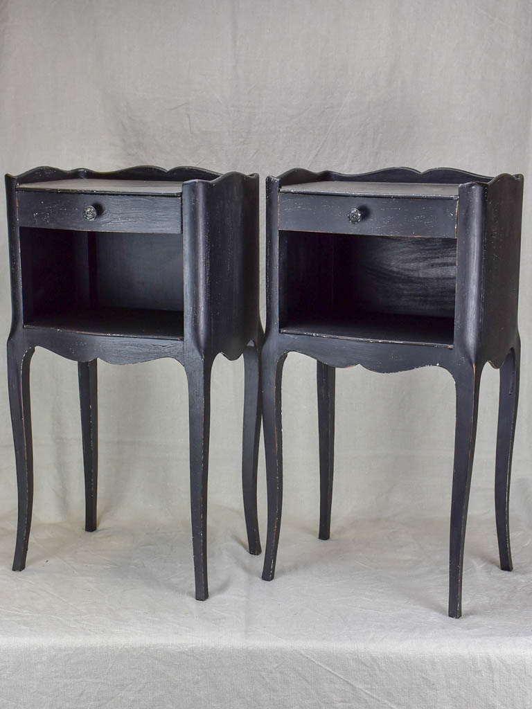 Pair of mid century Louis XV style night stands with black paint finish