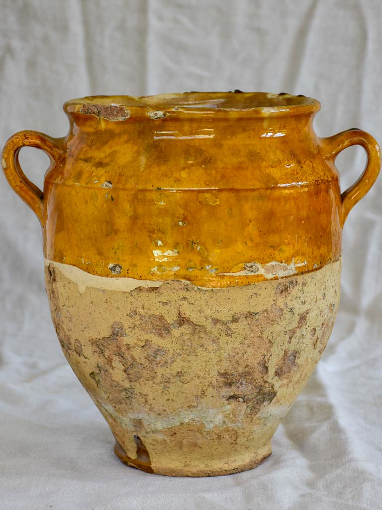 Large antique French confit pot with orange glaze and green splash 12¼""