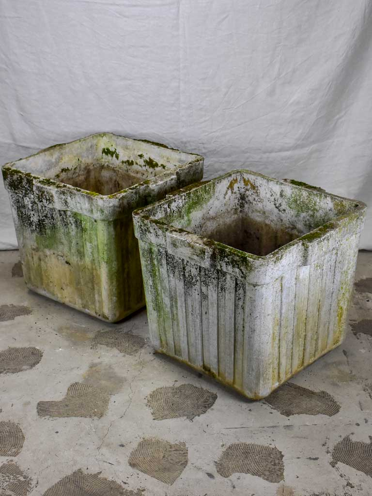 Pair of large square Willy Guhl planters