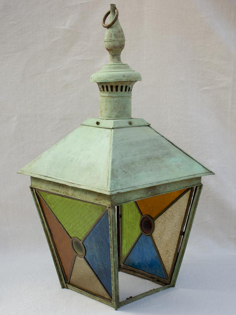Large nineteenth century French copper lantern with stained glass 34¼""