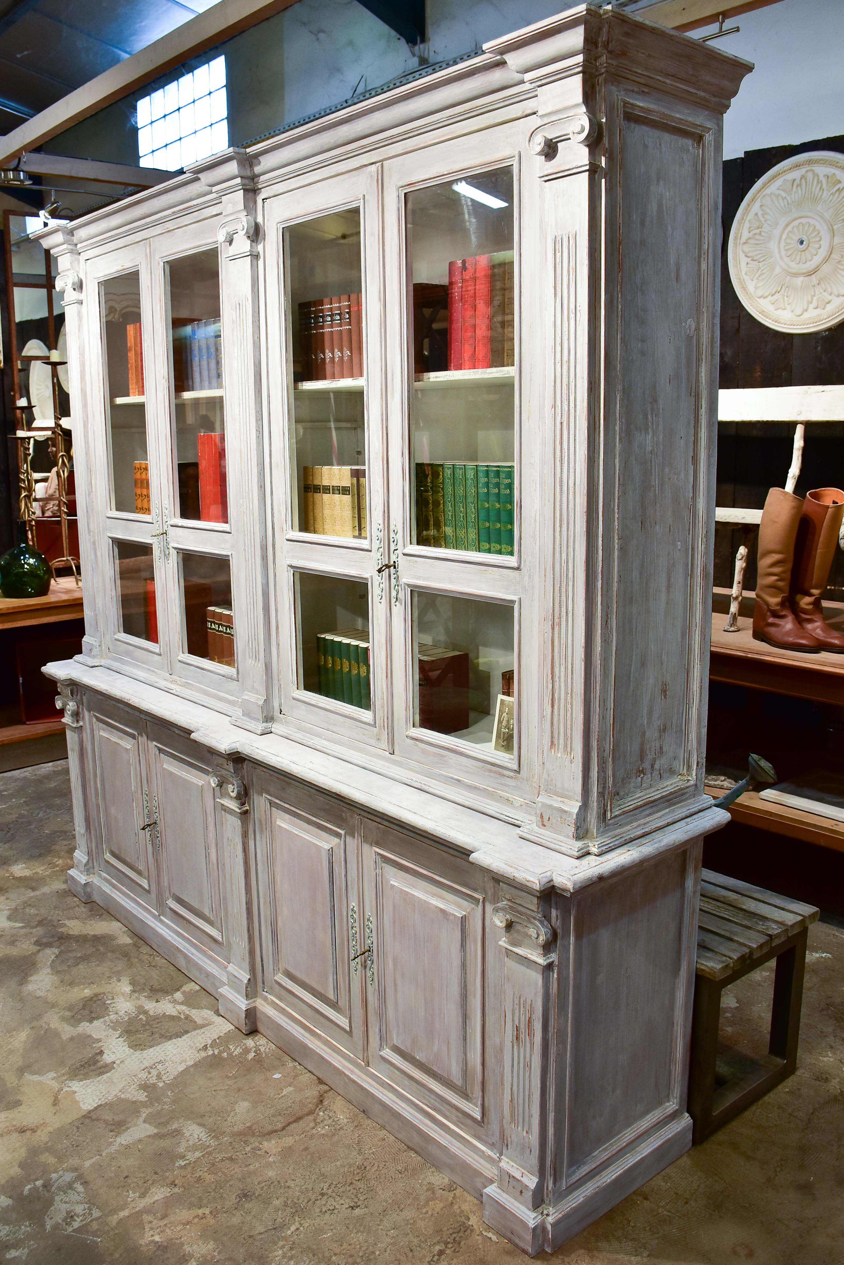 Large French bookcase with glass doors