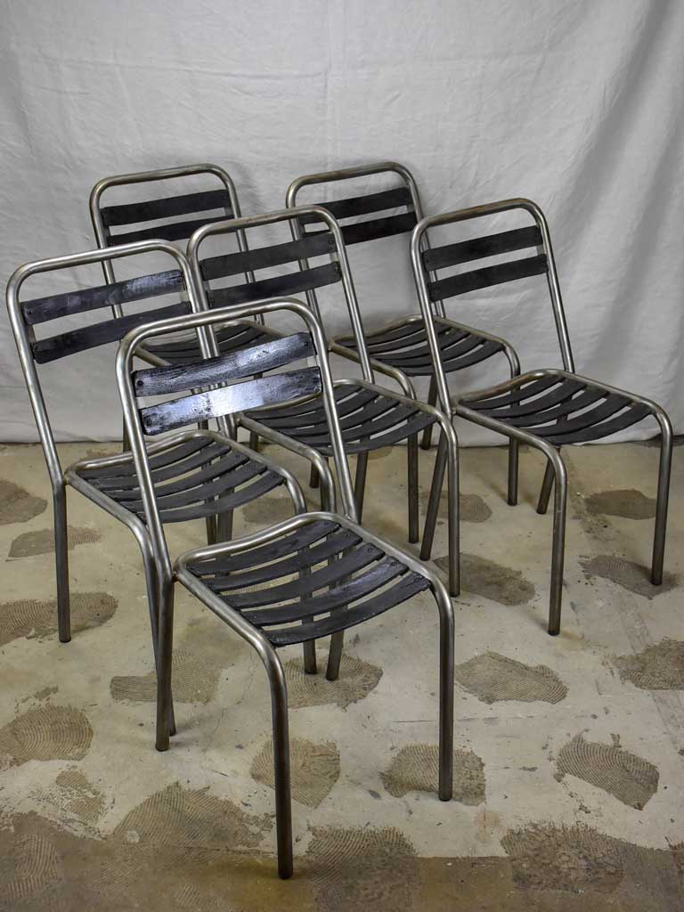Set of six vintage French garden chairs - stackable