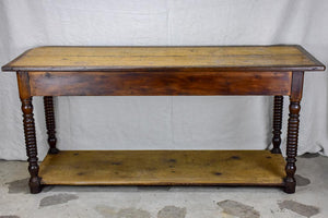 Late 19th Century French drapery table with turned legs - oak, pine and walnut