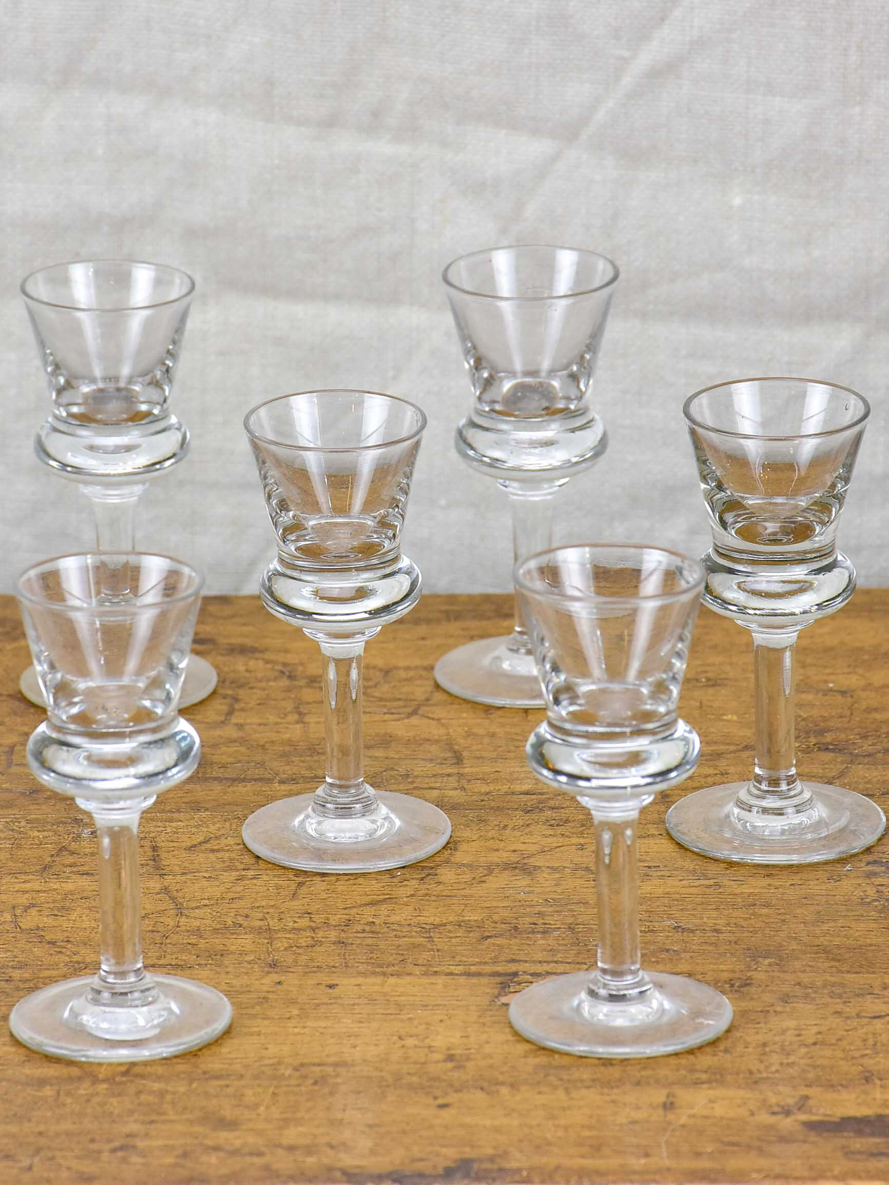 Set of six French bistro liqueur glasses