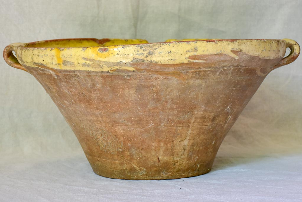 Large antique French bowl 'tian' with yellow glaze 17¼""
