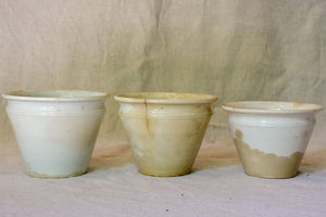 Collection of three antique French earthenware confiture pots