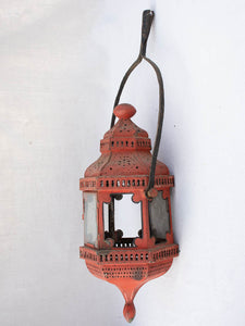Antique French processional lantern with red patina 24""