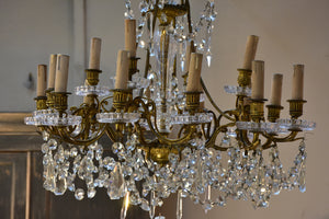 Bronze and glass chandelier - 16 light