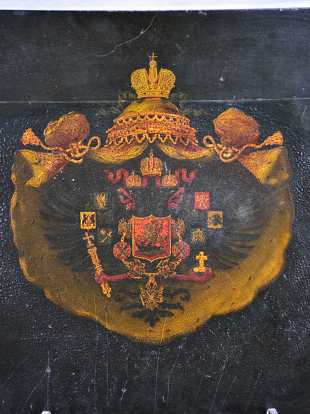 Antique coat of arms - oil on wood