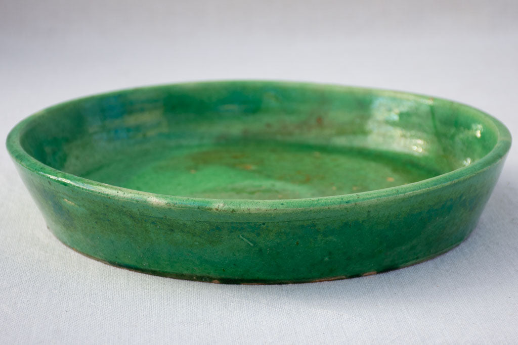 RESERVED Vintage French terracotta pot plant saucer with green glaze 11¾""