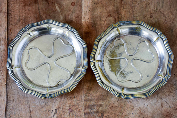 Antique French Christofle wine bottle coasters with RJC monogram - pair