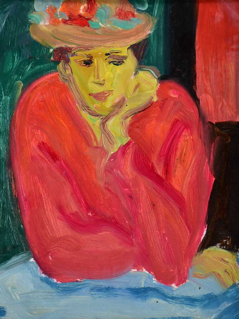 "20th Century oil on board - Portrait rouge - Anna Costa 11½"" x 15¼"""