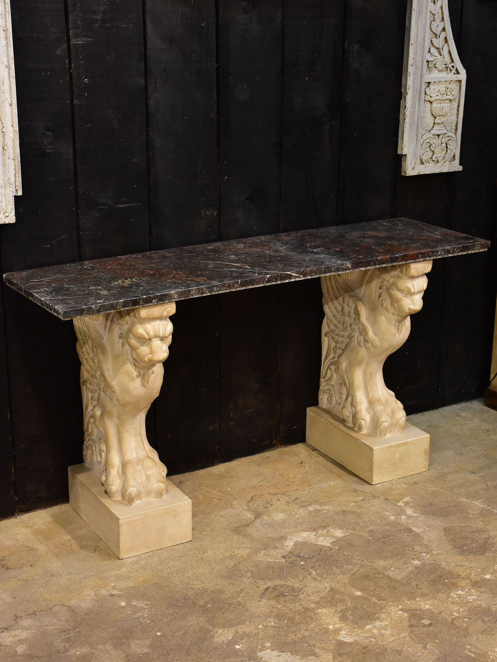 Vintage French marble console with sphinx base