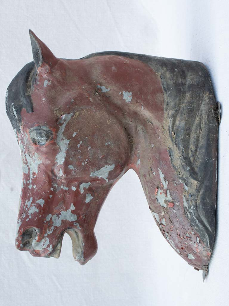 Rustic zinc horse head from stables - 19th century 14¼""