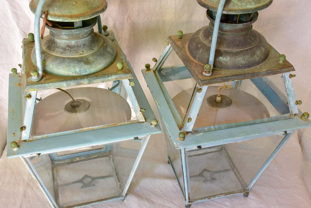 Pair of large 19th Century French lanterns with original glass and blue patina