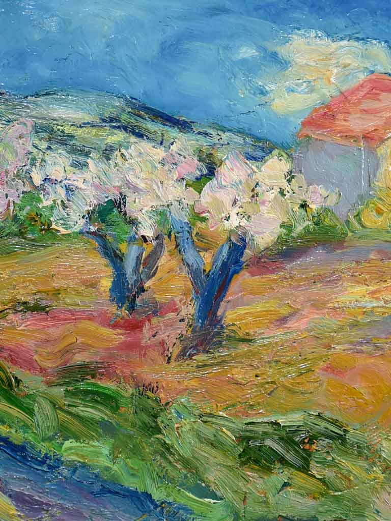 "20th Century oil on board - Provence landscape in spring - Anna Costa 15¾"" x 20½"""
