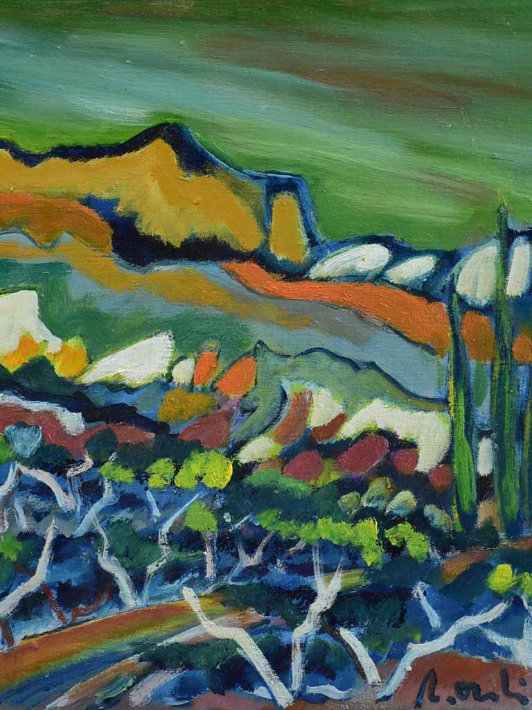 "2012 Oil on canvas - Les Alpilles landscape with cypress - Roger Oulion 18½"" x 20¾"""