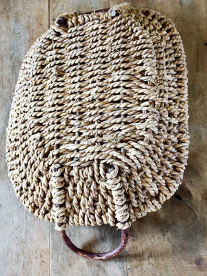 Woven French basket tray with cane handles