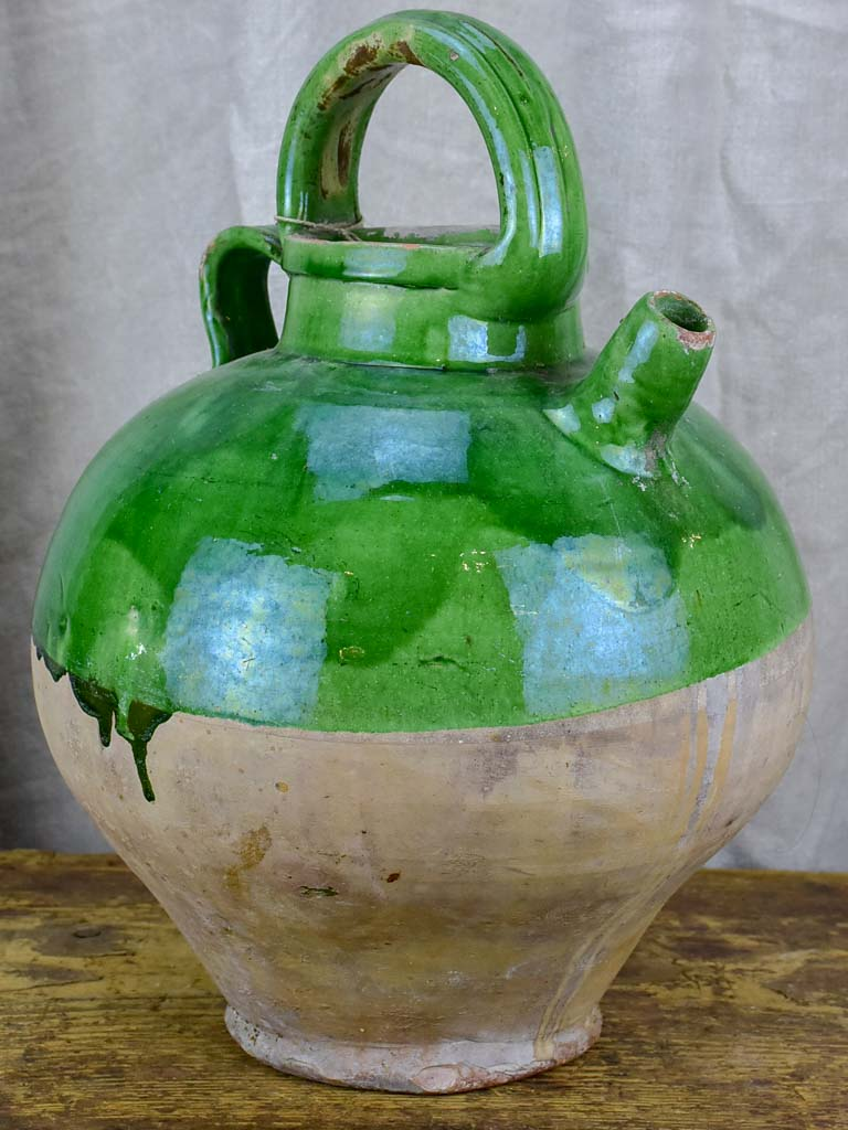 French water jug / cruche with green glaze