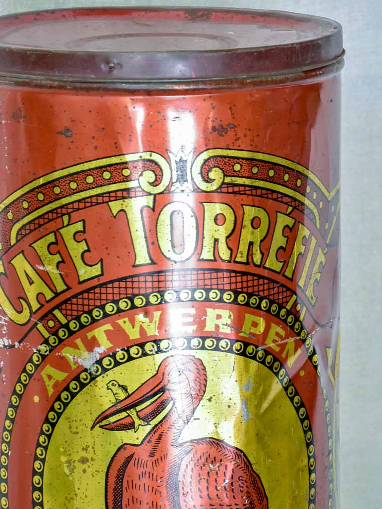 Large antique Belgian coffee tin - Torrefie 19¼""