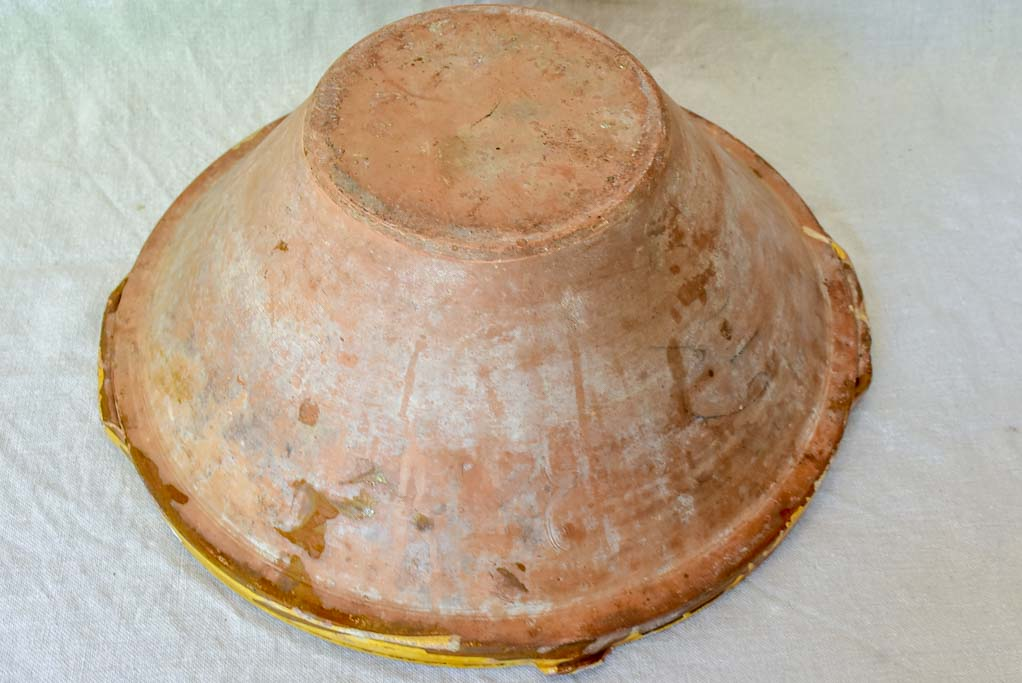 Large antique French bowl 'tian' with ochre glaze 16½""