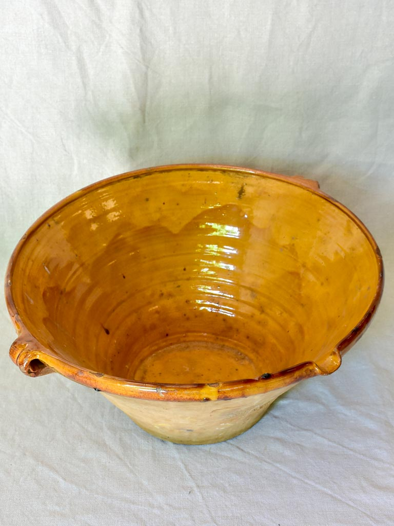 Antique French bowl 'tian' with orange glaze