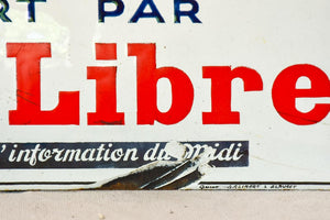 "1930's French enamel sign - Midi Libre newspaper 13¾"" x 4"""